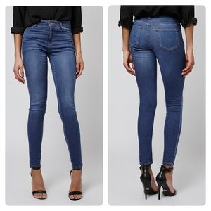 Top shop Moto Leigh medium wash blue skinny jeans